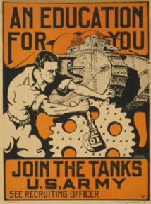 Vintage WW1 recruitment Poster for Army Tanks